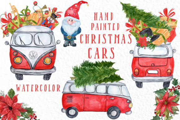 Watercolor Christmas Cars Clipart Graphic Illustrations By vivastarkids