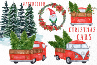 Watercolor Christmas Cars Clipart Graphic By vivastarkids