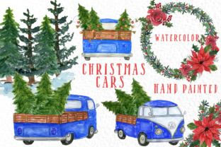 Watercolor Christmas Trucks Clipart Graphic By vivastarkids