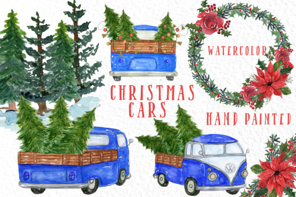 Watercolor Christmas Trucks Clipart Graphic Illustrations By vivastarkids