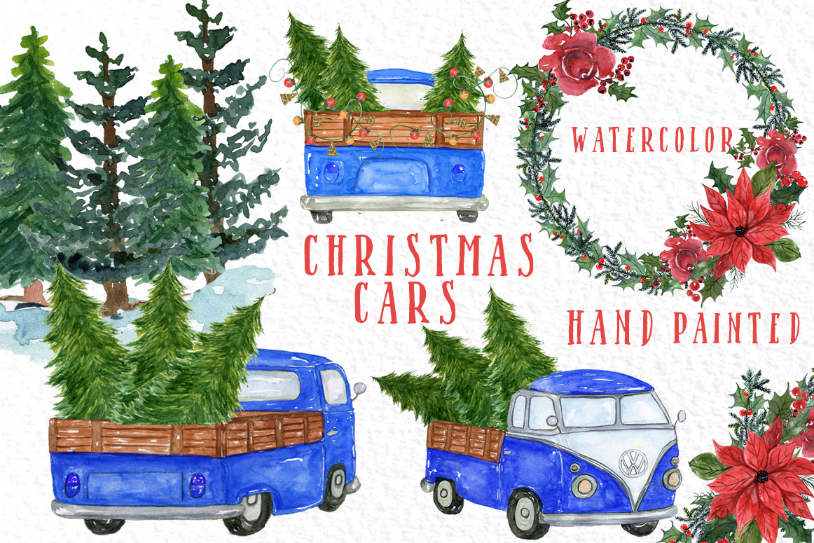 Download Free Watercolor Christmas Trucks Clipart Graphic By Vivastarkids for Cricut Explore, Silhouette and other cutting machines.