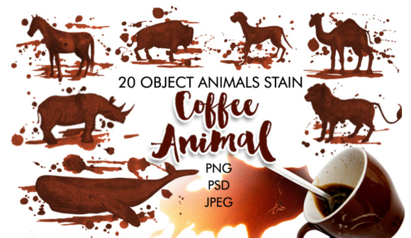 Watercolor Coffee Animals Stains Graphic Illustrations By Graphobia