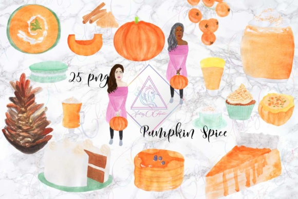 Print on Demand: Watercolor Hand Drawn Pumpkin Spice Clipart Graphic Illustrations By fantasycliparts