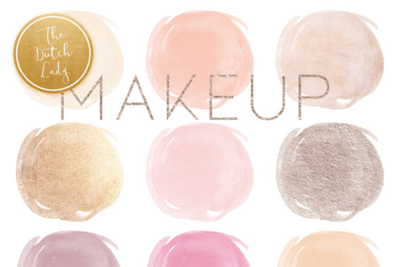 Print on Demand: Watercolor Makeup Circle Clipart Set Graphic Crafts By daphnepopuliers