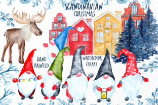 Watercolor Scandinavian Gnome - Christmas Clipart Graphic By vivastarkids