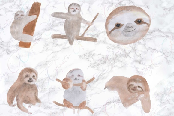 Watercolor Sloth Clipart Graphic By fantasycliparts Image 2