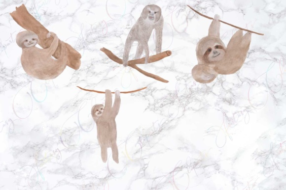 Watercolor Sloth Clipart Graphic By fantasycliparts Image 3