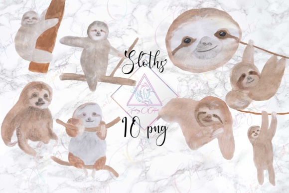 Print on Demand: Watercolor Sloth Clipart Graphic Illustrations By fantasycliparts