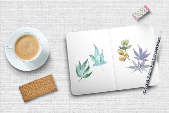 Download Free Watercolor Cannabis Leaves Set Graphic By Mystocks Creative for Cricut Explore, Silhouette and other cutting machines.