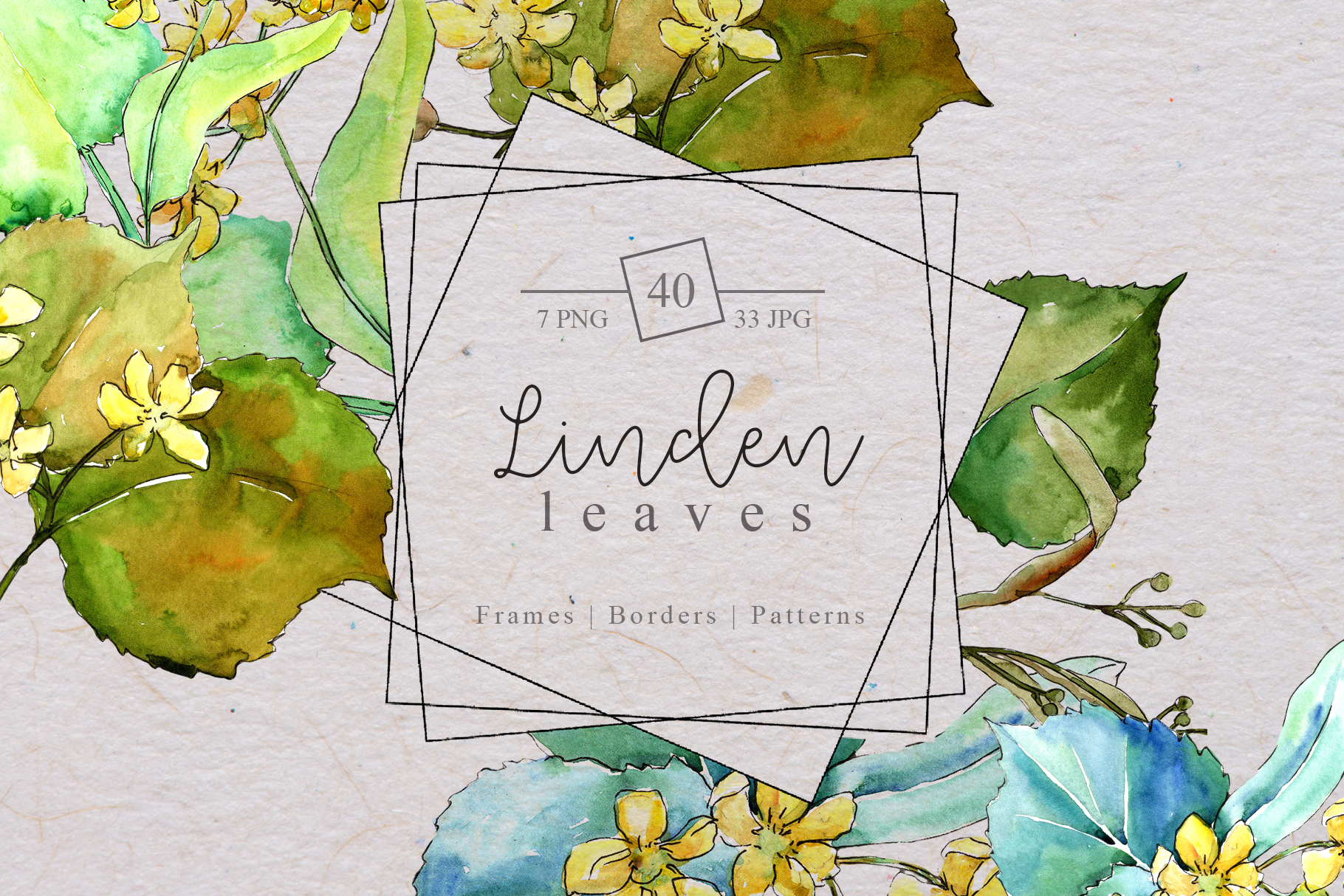 Download Free Watercolor Linden Leaves Set Graphic By Mystocks Creative Fabrica for Cricut Explore, Silhouette and other cutting machines.