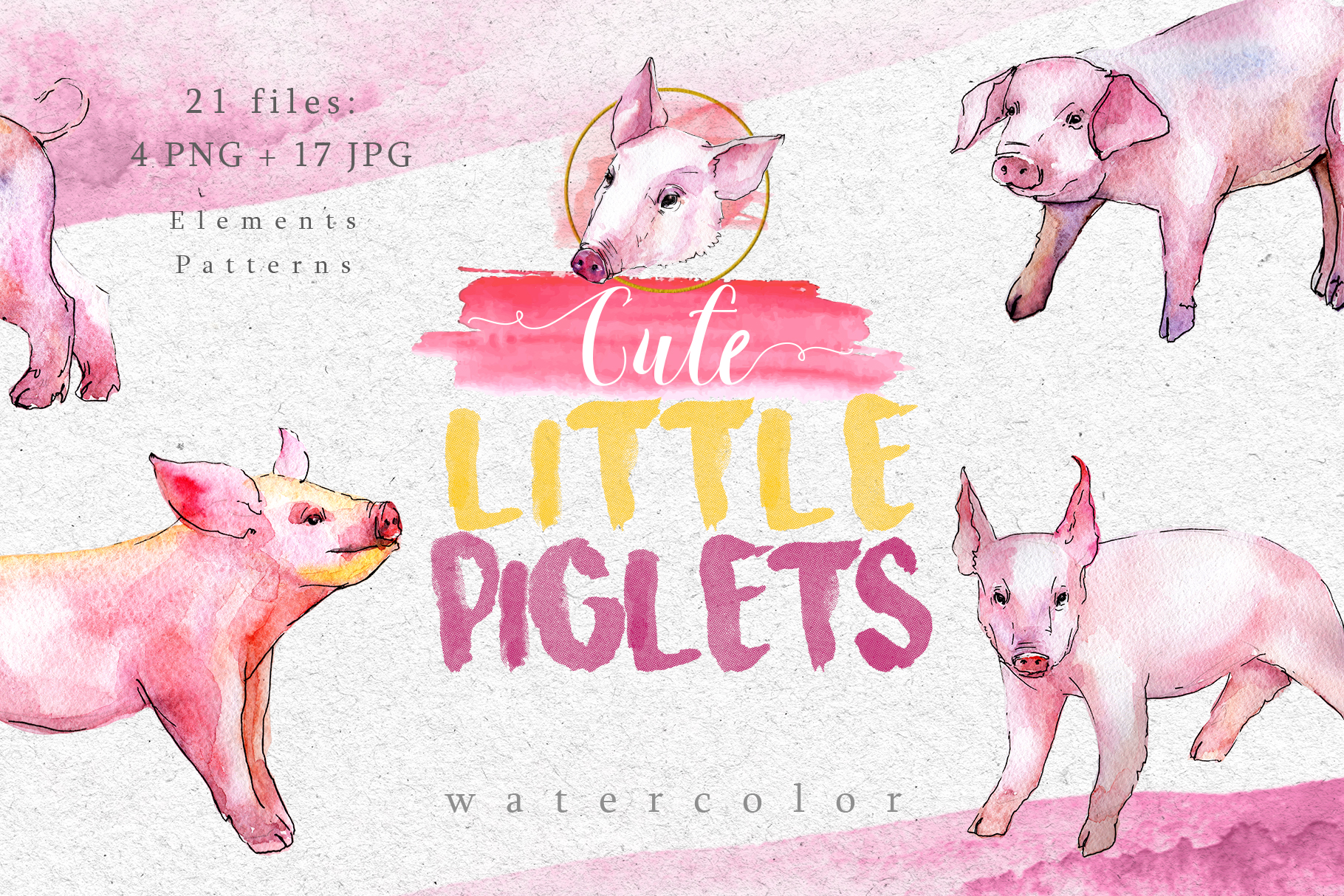 Download Free Watercolor Pink Pig Set Grafico Por Mystocks Creative Fabrica for Cricut Explore, Silhouette and other cutting machines.