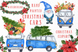 Watercolour Christmas Cars Clipart Graphic By vivastarkids