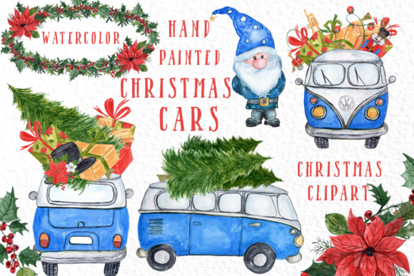 Watercolour Christmas Cars Clipart Graphic Illustrations By vivastarkids