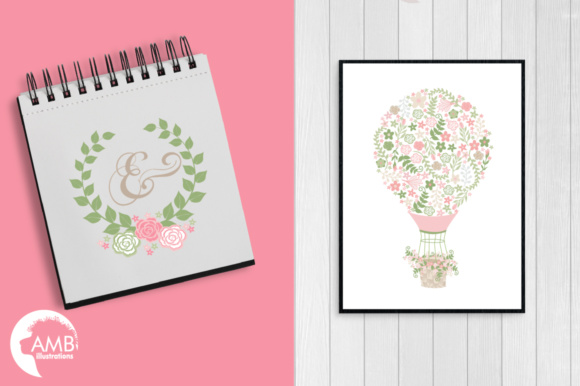 Wedding Floral Hot  Air Balloon Graphic Illustrations By AMBillustrations - Image 5
