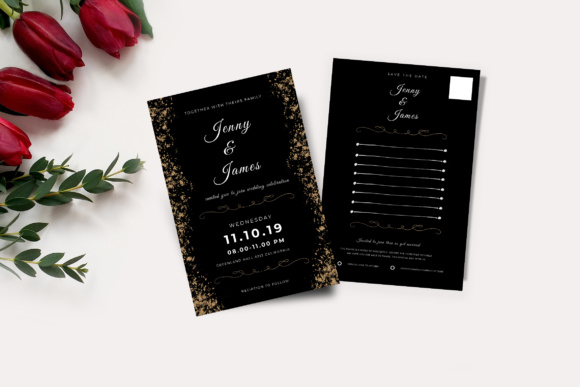 Wedding Invitation and RSVP Graphic Print Templates By TMint