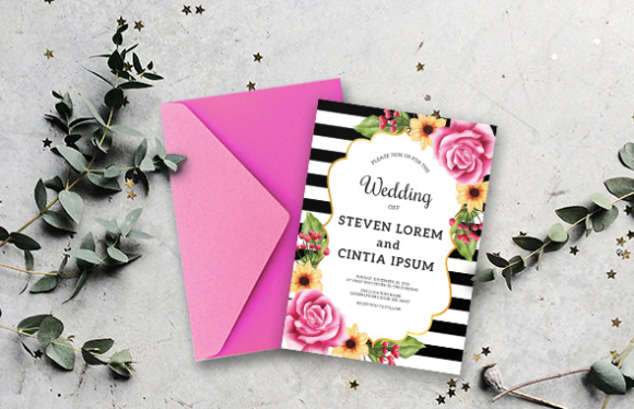 Download Free Wedding Invitation Set Flowers Graphic By Orchidart Creative for Cricut Explore, Silhouette and other cutting machines.