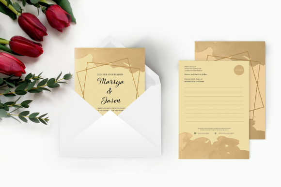 Wedding Postcard Graphic Print Templates By TMint