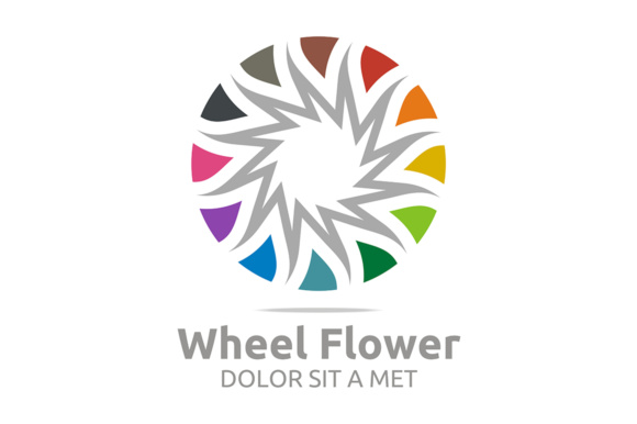 Wheel Flower Graphic Logos By Acongraphic