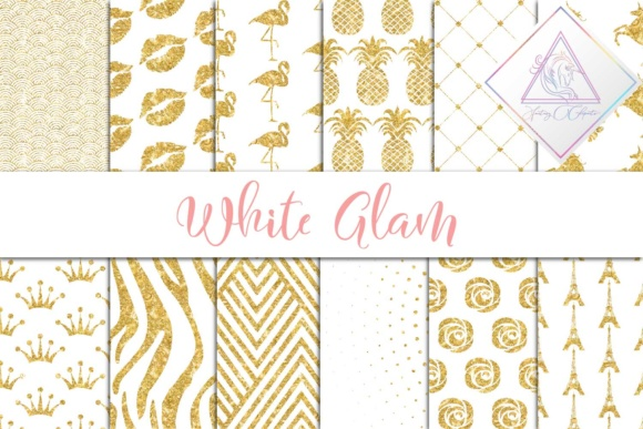 Print on Demand: White Glam Digital Paper Graphic Textures By fantasycliparts