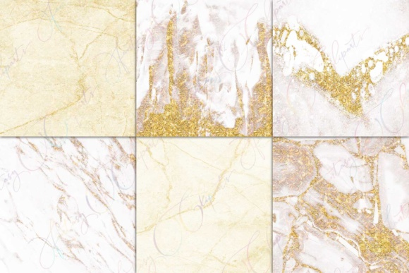 Print on Demand: White Marble & Gold Digital Paper Graphic Textures By fantasycliparts - Image 2