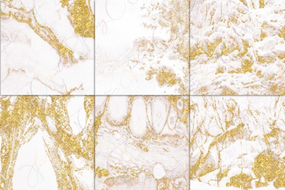 Print on Demand: White Marble & Gold Digital Paper Graphic Textures By fantasycliparts - Image 3