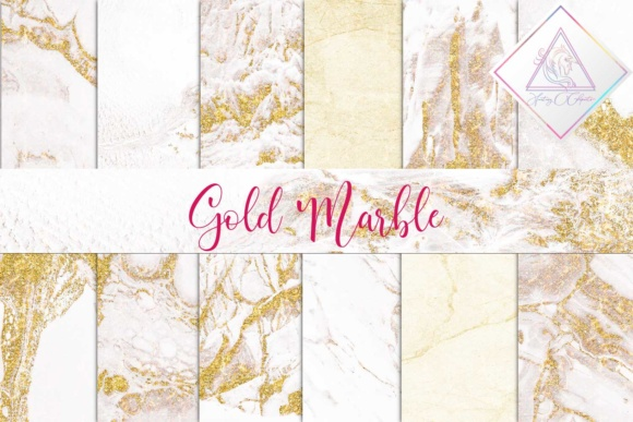 Print on Demand: White Marble & Gold Digital Paper Graphic Textures By fantasycliparts
