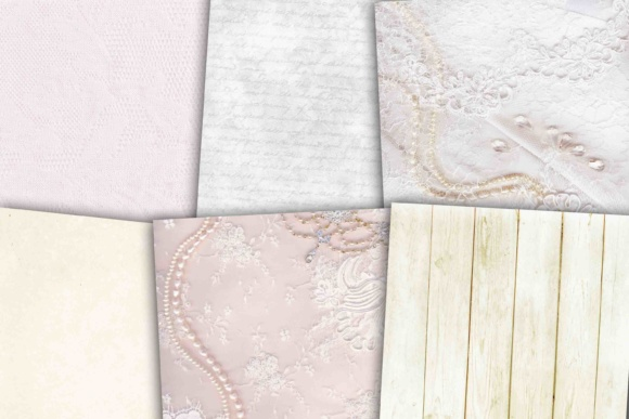 Print on Demand: White Wedding Paper Graphic Backgrounds By retrowalldecor - Image 2