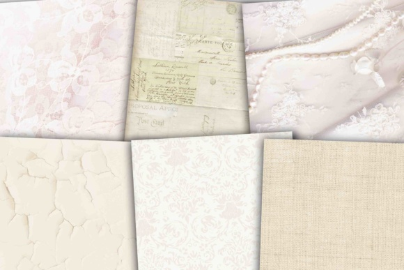 Print on Demand: White Wedding Paper Graphic Backgrounds By retrowalldecor - Image 3