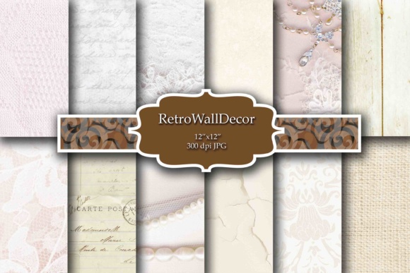 Print on Demand: White Wedding Paper Graphic Backgrounds By retrowalldecor