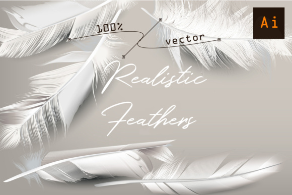 White Feather. Vector Realistic Clipart Graphic Objects By fleurartmariia