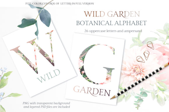 Wild Garden Botanical Alphabet Watercolor Graphic Illustrations By Creative Fabrica Freebies