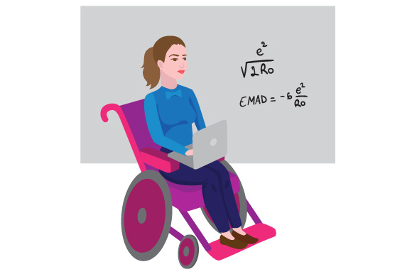 Woman in a Wheelchair Working As a Teacher Awareness Craft Cut File By Creative Fabrica Crafts