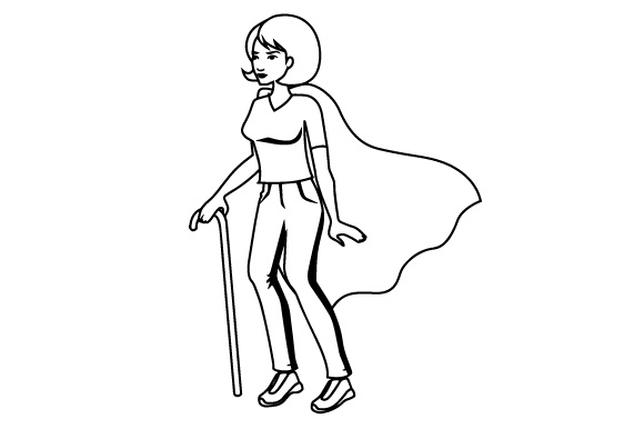 Download Free Woman Using A Cane To Walk With A Superhero S Cape Svg Cut File for Cricut Explore, Silhouette and other cutting machines.
