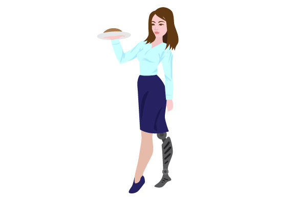 Woman with Prostetic Leg Working As a Waiter Awareness Craft Cut File By Creative Fabrica Crafts
