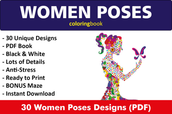 Women Poses Coloring Book - 30 Unique Illustrations Graphic Coloring Pages & Books Adults By ColoringBooks101
