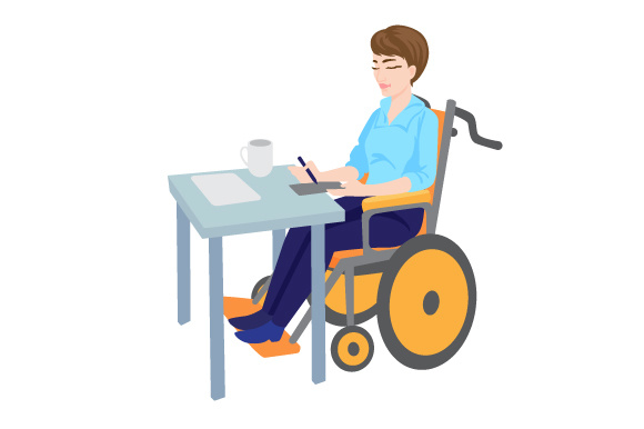 Womn in a Wheelchair Working Behind a Desk Awareness Craft Cut File By Creative Fabrica Crafts