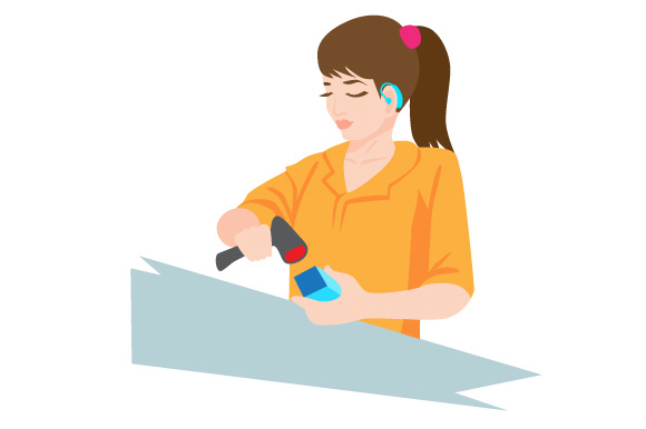 Download Free Woman With Hearing Aids Working As A Cashier At The Supermarket for Cricut Explore, Silhouette and other cutting machines.
