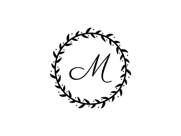 Download Free Wreath Letter M Logo Graphic By Laks Mi Creative Fabrica for Cricut Explore, Silhouette and other cutting machines.