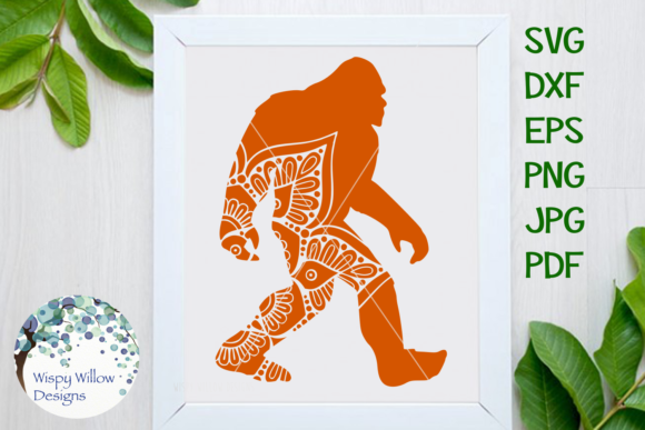 Download Free Yeti Big Foot Mandala Graphic By Wispywillowdesigns Creative for Cricut Explore, Silhouette and other cutting machines.