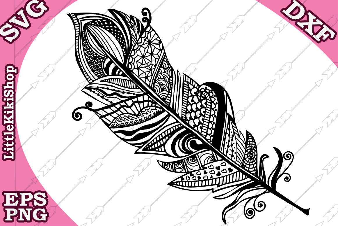 Download Free Zentangle Feather Graphic By Littlekikishop Creative Fabrica for Cricut Explore, Silhouette and other cutting machines.
