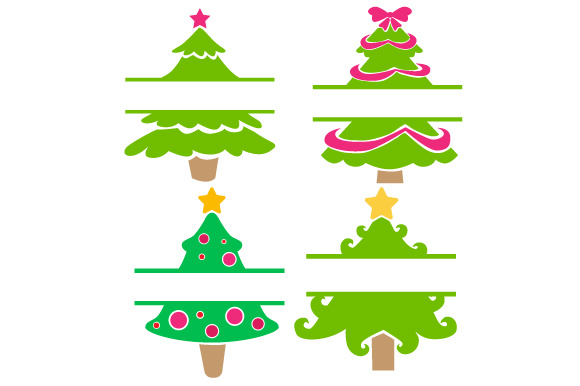 Download Free Christmas Tree Split Design Monogram Frames Svg Cut File By for Cricut Explore, Silhouette and other cutting machines.