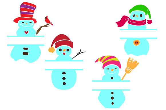 Download Free Snowman Split Monogram Frames Svg Cut File By Creative Fabrica for Cricut Explore, Silhouette and other cutting machines.