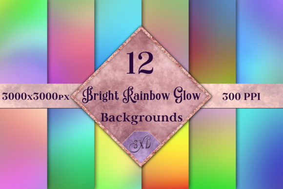 Print on Demand: Bright Rainbow Glow Backgrounds Graphic Backgrounds By SapphireXDesigns