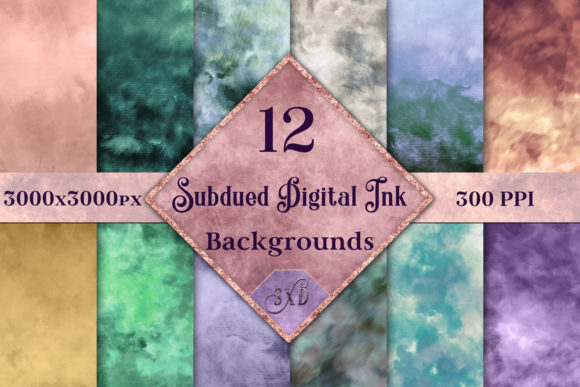 Print on Demand: Subdued Digital Ink Backgrounds Graphic Backgrounds By SapphireXDesigns