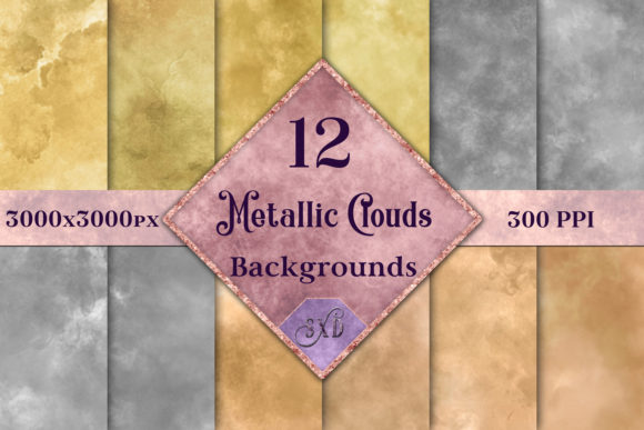 Print on Demand: Metallic Clouds Backgrounds Graphic Backgrounds By SapphireXDesigns