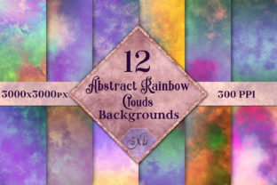 Print on Demand: Abstract Rainbow Clouds Backgrounds Graphic Backgrounds By SapphireXDesigns