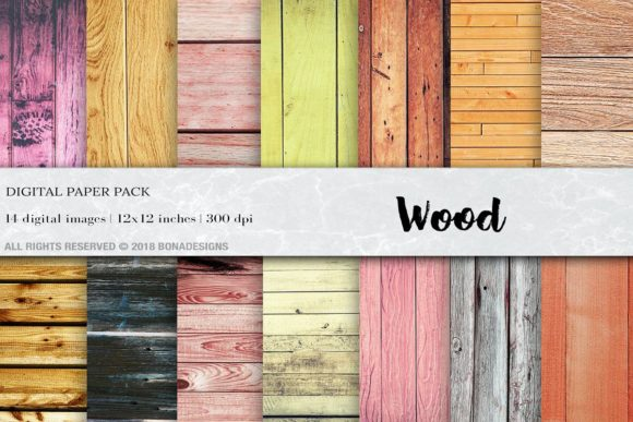 Wood Background Digital Paper Gráfico Texturas Por BonaDesigns
