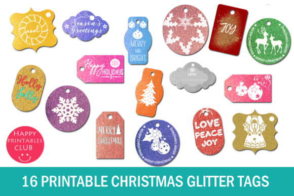 Download Free 16 Printable Christmas Glitter Tags Graphic By Happy Printables for Cricut Explore, Silhouette and other cutting machines.