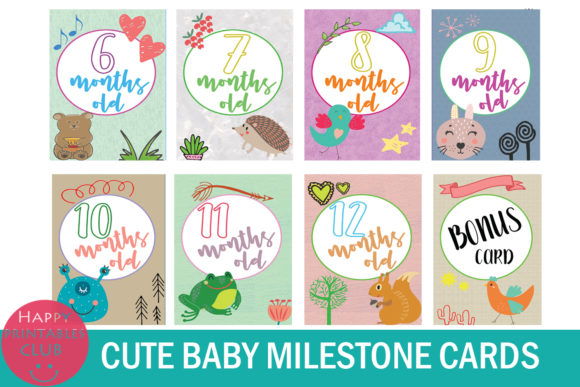 Download Free 18 Cute Baby Milestone Cards Graphic By Happy Printables Club for Cricut Explore, Silhouette and other cutting machines.