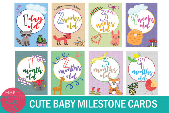 18 Cute Baby Milestone Cards Graphic By Happy Printables Club